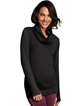 Maidenform Womens Seamless Sport Baselayer Thermal Cowl Neck Tunic, Black 2X Large