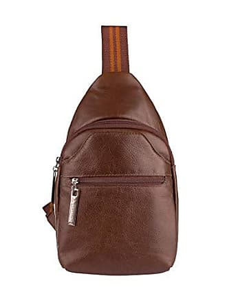 Vira Vento Mini mochila transversal de couro masculina Jeff cedro