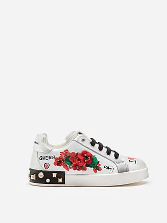 0bda7be804725 Dolce   Gabbana PORTOFINO SNEAKERS AUS LEDER MIT GERANIENSTICKEREI