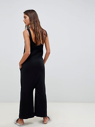 70e960c232 Asos Tall ASOS DESIGN premium lounge knitted drop crotch jumpsuit - Black