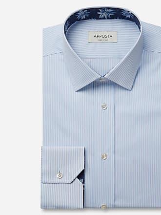 Apposta Camicia righe azzurro 100% puro cotone fil-a-fil, collo stile francese punte corte