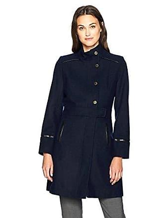 Via Spiga Womens Stand Collar Snap Front Wool Coat, Navy, 2