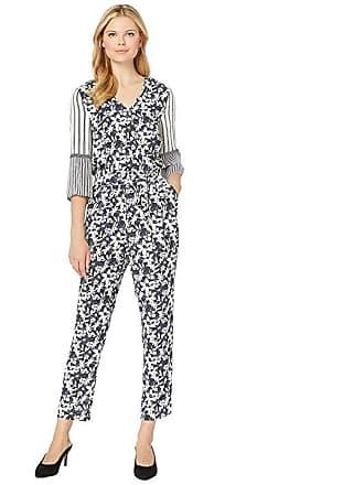 af7c4e561ce Vince Camuto 3 4 Sleeve Floral Lace Mix Print Jumpsuit (Classic Navy) Womens
