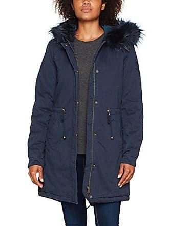 Tom Tailor Parka W. Coloured Fur, Femme, Bleu (Real Navy Blue 6593 b2220ea0aec0