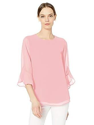 Calvin Klein Womens Chiffon Ruffle Sleeve Blouse, Orchid, Large