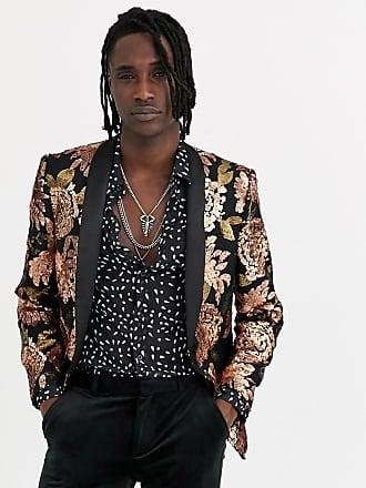 Twisted Tailor Blazer super skinny rame con paillettes a fiori