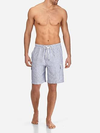 Vilebrequin Men Ready to Wear - Men Cargo Linen Bermuda Shorts Micro Stripes - BERMUDA - BERRIX - Blue - XS - Vilebrequin