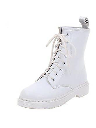 f33f80899ccf6c UH Damen Flache Schnürstiefeletten Ankle Boots mit Schnürung und Fell  Bequeme Martin Schuhe