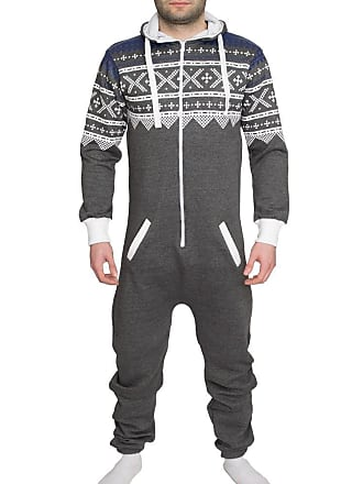 b9713f54c2f1 Shelikes Mens Womens Unisex One Direction Rihanna Aztec Camouflage Hooded Onesie  Jumpsuit - Charcoal - UK