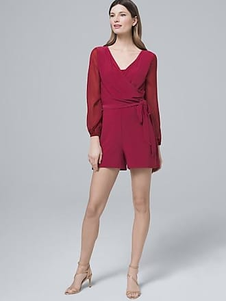 White House Black Market Womens Surplice Polished Knit Romper by White House Black Market, Dark Sangria, Size XS