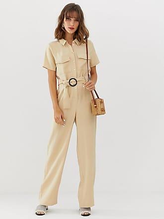 Vero Moda pocket detail wide leg jumpsuit - Tan