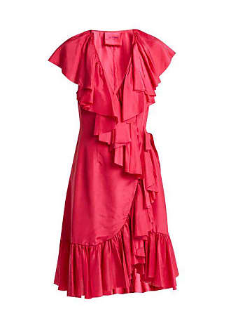 Loup Charmant Ruffled Silk Wrap Dress - Womens - Fuchsia
