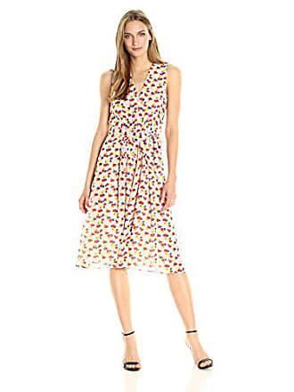 779195f71b Anne Klein Womens Pleated V-Neck Midi Dress, Wheat/Tomato Combo, 6