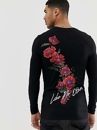 fd3d6b39a Asos Organic cotton muscle fit long sleeve t-shirt with text and rose chest  and