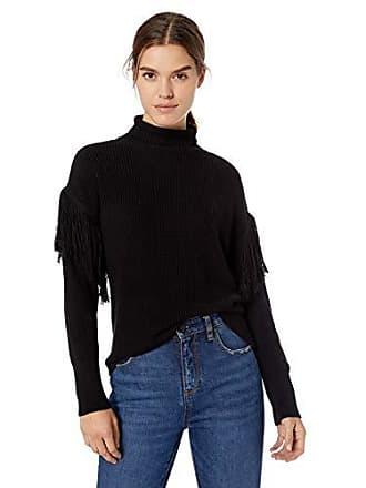 Ramy Brook Womens Grayson Fringe Sweater, Black, Medium