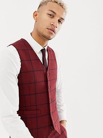 Asos Chaleco de traje ajustado de cuadros en burdeos de mezcla de lana de  ASOS DESIGN 697a98b5ec4