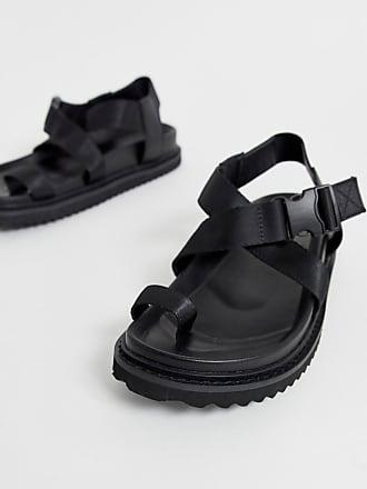 Asos Freestyle toe loop sporty sandals in black - Black