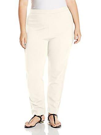 Joan Vass Womens Plus Size Ponte Pant, Cream 3X