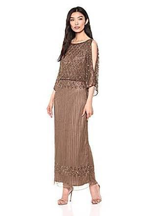 8482ac72471 Pisarro Nights Womens Long Cold Shoulder Blouson Dress with Diamond Motif