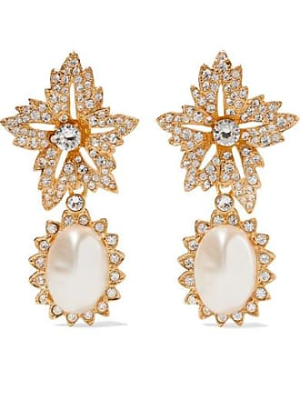 Kenneth Jay Lane Gold-plated, Crystal And Faux Pearl Clip Earrings
