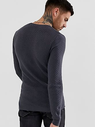 b9b6495b0cad Asos knitted muscle fit textured jumper in charcoal - Grey