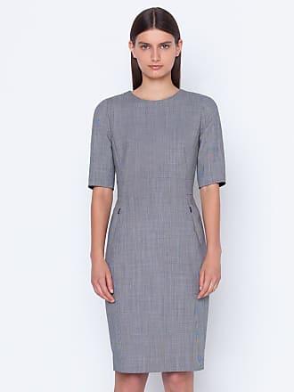 Akris Sheath dress in wool techno grid double-face