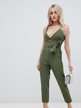 1c19276563d Asos Petite ASOS DESIGN Petite wrap front jumpsuit with peg leg and self  belt - Green