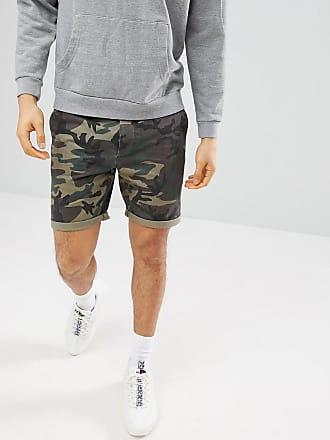 Asos ASOS Chino Shorts With Camo Print-Green