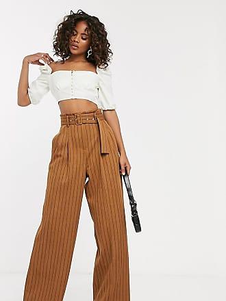 0b5ba732a975 Asos Tall ASOS DESIGN tall - Pantaloni gessati con cintura e fondo ampio -  Multicolore
