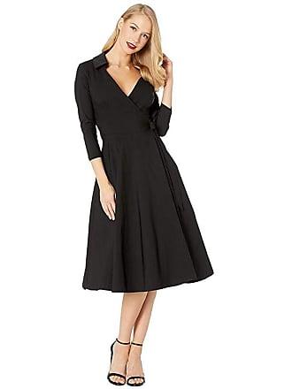Unique Vintage Anna Wrap Dress (Black) Womens Dress