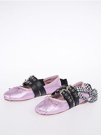 900791402590 Miu Miu Metallic Leather Lace Up Ballet Flats size 36