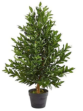Nearly Natural 5548 35-in. Olive Cone Topiary Artificial UV Resistant (Indoor/Outdoor) Silk Trees Green