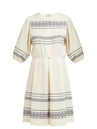 Zeus + Dione Skyros Embroidered Cotton Blend Midi Dress - Womens - Ivory Multi