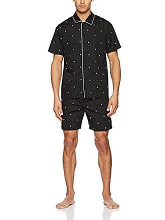 d4edbddf289a3 HOM Frenchy Short Woven Sleepwear Ensemble de Pyjama, Fond Noir Imprimé Coq  Et Pois Blanc