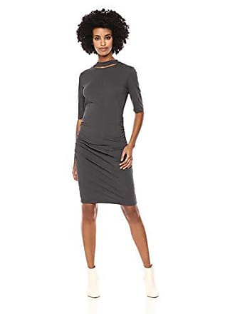 11055a6b6 Michael Stars Womens Cotton Lycra Elbow Sleeve Slashed Mock Neck Dress,  Oxide, Medium