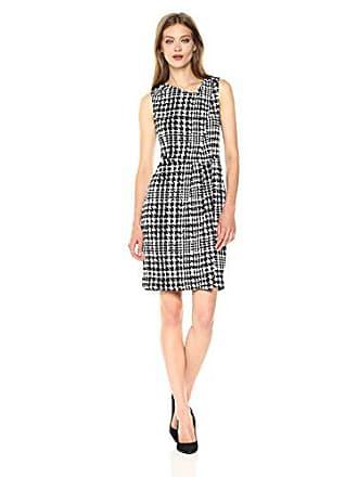 Jones New York Womens Slvlss Print PLT Neck Drape Dress, Ivory Combo 4