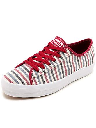 48d8e83402 Keds Tênis Keds Sola Alta Triple Kick Stripe Bege Vermelho