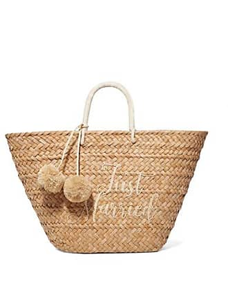 Kayu St Tropez Pompom-embellished Embroidered Woven Straw Tote - Sand