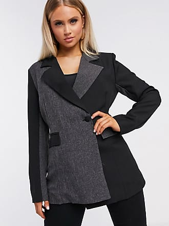 Unique21 Unique21 - Blazer nero e grigio a portafoglio con pannelli a contrasto