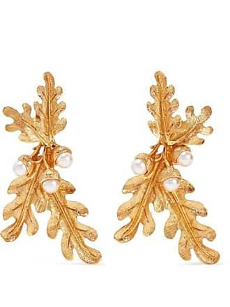 Oscar De La Renta Gold-tone Faux Pearl Clip Earrings