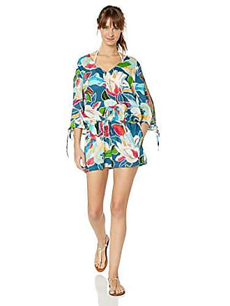 La Blanca Womens V-Neck Open Arm Romper, go with The flo/Royal, Extra Small