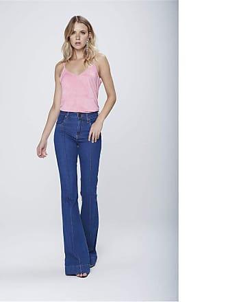 Damyller Calça Flare Jeans Cintura Alta Feminina Tam: 34 / Cor: BLUE