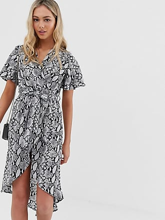 d064d3c482f0 Qed London angel sleeve wrap dress in grey snake print