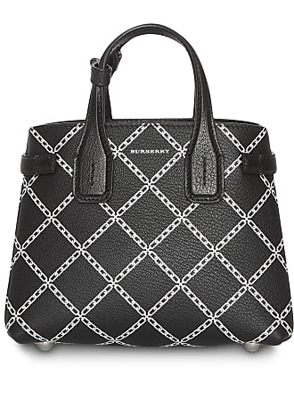 Burberry The Baby Banner in Link Print Leather - Black 75a06eb428