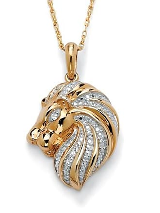 PalmBeach Jewelry Diamond Accent 18k Gold over Sterling Silver Lion Pendant and Chain 18