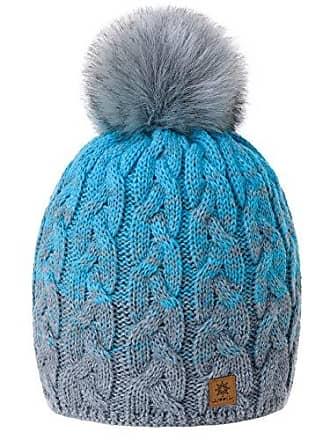 79cbcc0fdf0c2a morefaz Damen Herren Winter Beanie Strickmütze Mütze Wurm Fleece Bommel  Fashion SKI (Grey Turquoise)