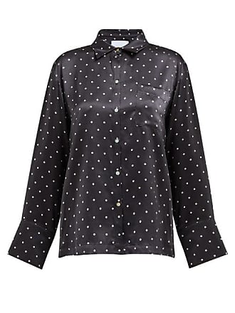 Asceno Polka Dot Sandwashed Silk Shirt - Womens - Black White