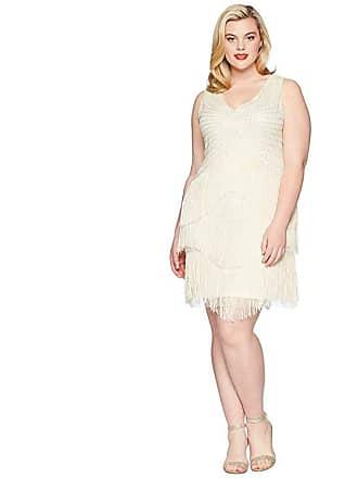 Unique Vintage Plus Size Beaded Renee Fringe Cocktail Dress (Ivory) Womens  Dress 45b4e4cde