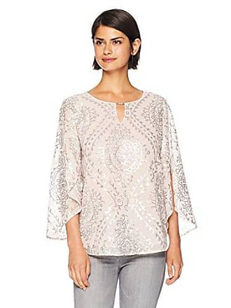 Calvin Klein Womens Long Sleeve Blouse with Sequin Design, Blush, M