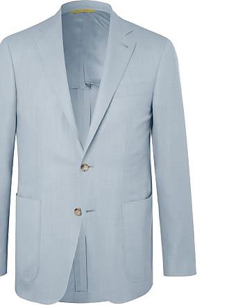 Canali Light-blue Impeccabile Unstructured Wool-hopsack Blazer - Blue